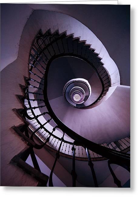 Black Top Greeting Cards - Spiral staircase in purple and grey Greeting Card by Jaroslaw Blaminsky