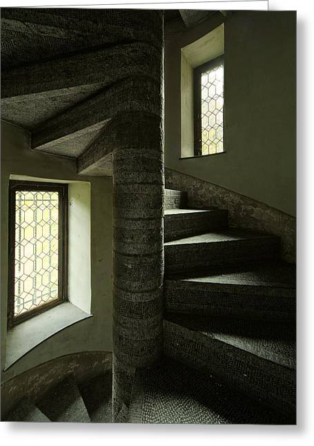 Abandoned Houses Greeting Cards - Spiral Stairs Double Window Light - Abandoned Castle Greeting Card by Dirk Ercken