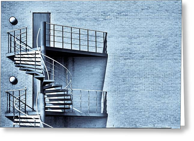 Spiral Stairs Greeting Card by Tom Gowanlock