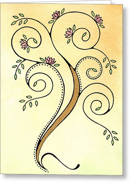 Nora Blansett Greeting Cards - Spiral Tree Greeting Card by Nora Blansett