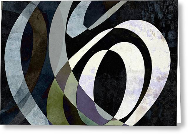 Spiraling Out Of Control Abstract Square  Greeting Card by Edward Fielding