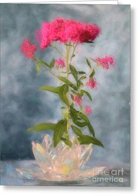 Spirea Greeting Cards - Spirea in Crystal Greeting Card by Betty LaRue