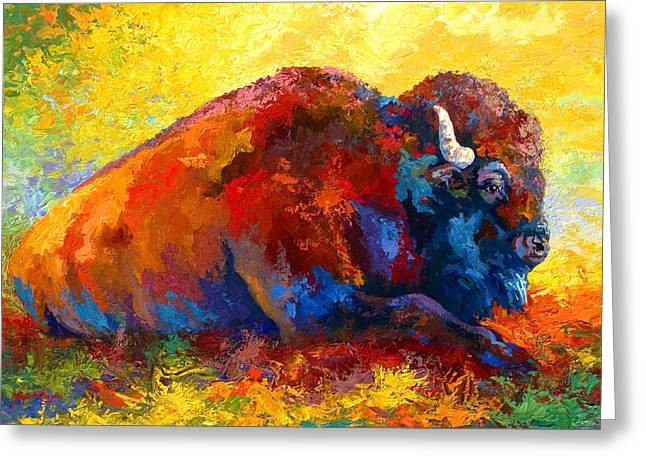 Spirit Brother - Bison Greeting Card by Marion Rose