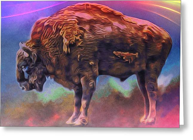 The American Buffalo Greeting Cards - Spirit Buffalo Portrait Greeting Card by Digital Designs