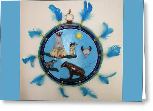 Wolf Sculptures Greeting Cards - Spirit Disk Greeting Card by Robert Provencial