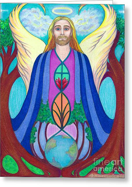 Destiny Drawings Greeting Cards - Spirit Guide Sananda Greeting Card by Debra A Hitchcock