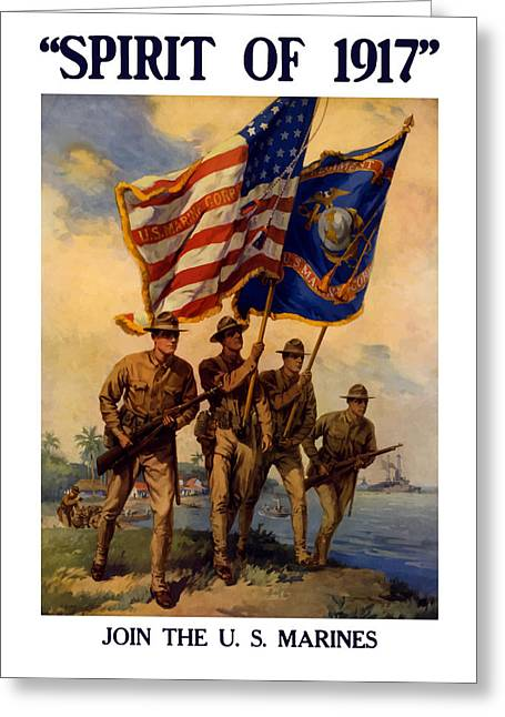 Semper Fidelis Greeting Cards - Spirit Of 1917 Join The US Marines  Greeting Card by War Is Hell Store