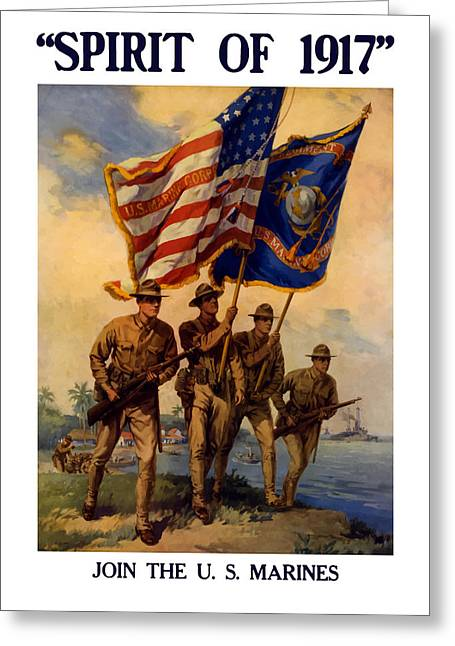Jarhead Greeting Cards - Spirit Of 1917 - Join The US Marines  Greeting Card by War Is Hell Store