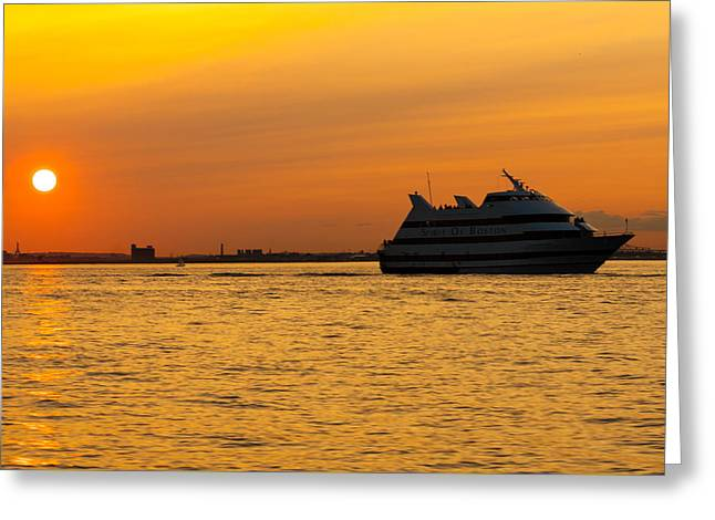 Boston Ma Greeting Cards - Spirit of Boston Sunset Greeting Card by Brian MacLean