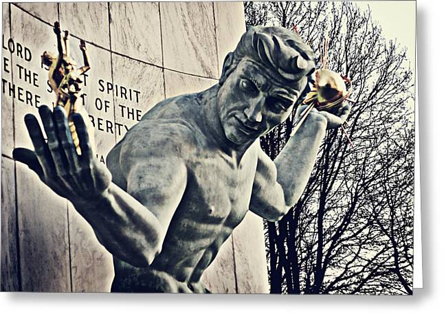 Sculptures Sculptures Greeting Cards - Spirit of Detroit Greeting Card by Alanna Pfeffer