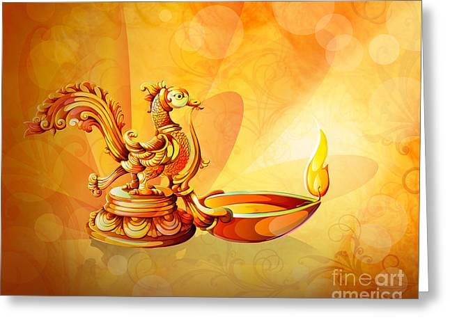 Spirit Of Diwali Greeting Card by Bedros Awak