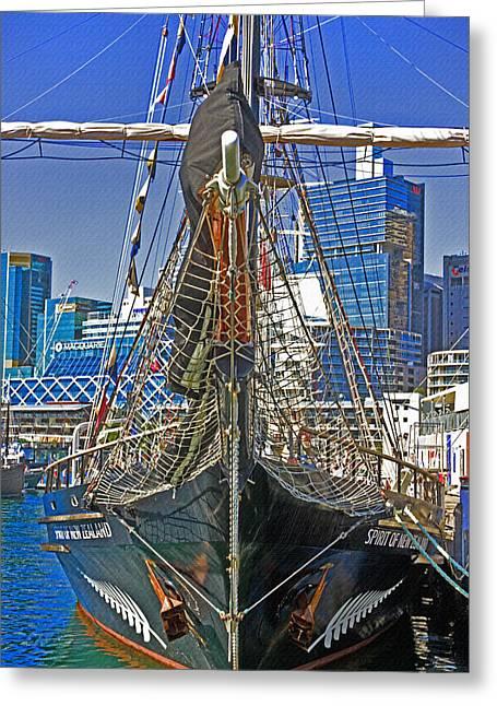 Tall Ship Greeting Cards - Spirit Of New Zealand Close Up Greeting Card by Miroslava Jurcik