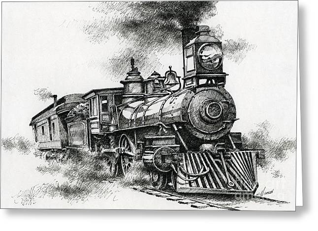 Train Drawing Greeting Cards - Spirit of Steam Greeting Card by James Williamson