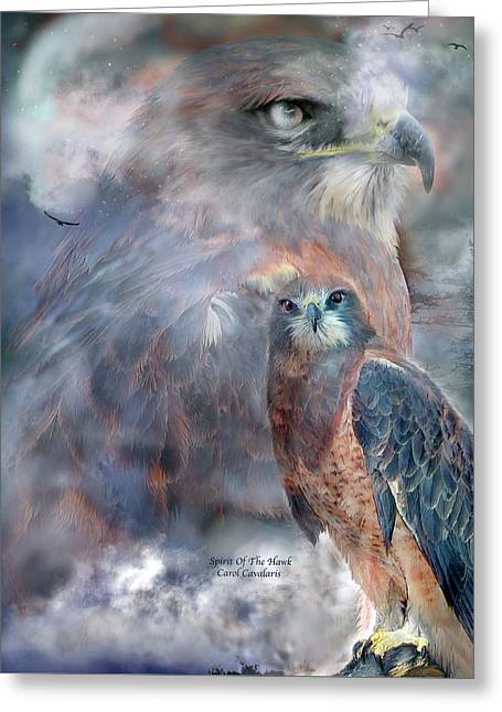 Spirit Of The Hawk Greeting Card by Carol Cavalaris