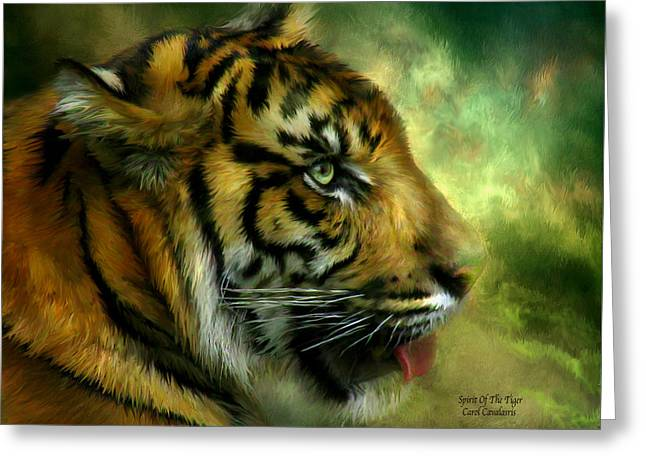 The Tiger Mixed Media Greeting Cards - Spirit Of the Tiger Greeting Card by Carol Cavalaris