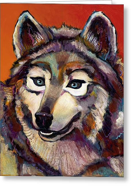 Dog Abstract Greeting Cards - Spirit of the Wolf Greeting Card by Bob Coonts