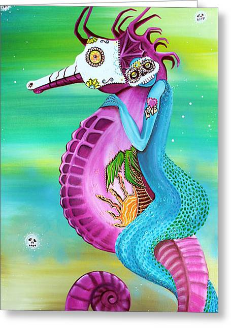 Sea Horse Greeting Cards - Spirit Traveler Greeting Card by Laura Barbosa