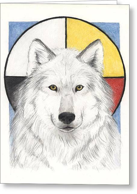 Native American Indian Medicine Wheel Greeting Cards - Spirit Wolf Greeting Card by Brandy Woods