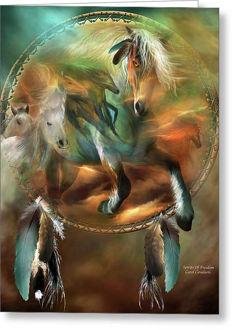 Equine Mixed Media Greeting Cards - Spirits Of Freedom Greeting Card by Carol Cavalaris