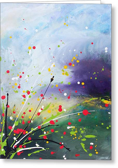 Dots And Lines Paintings Greeting Cards - Spirits of the First May Flowers Greeting Card by Kume Bryant
