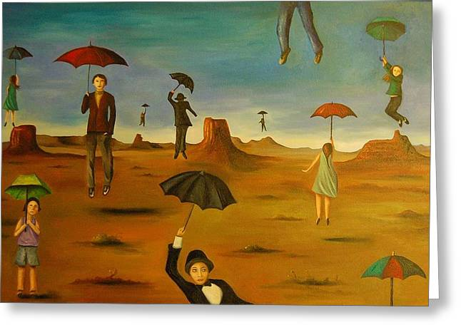 Craters Paintings Greeting Cards - Spirits of the flying umbrellas Greeting Card by Leah Saulnier The Painting Maniac
