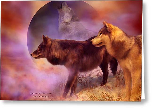 Wildlife Art Greeting Cards Greeting Cards - Spirits Of The Moon Greeting Card by Carol Cavalaris