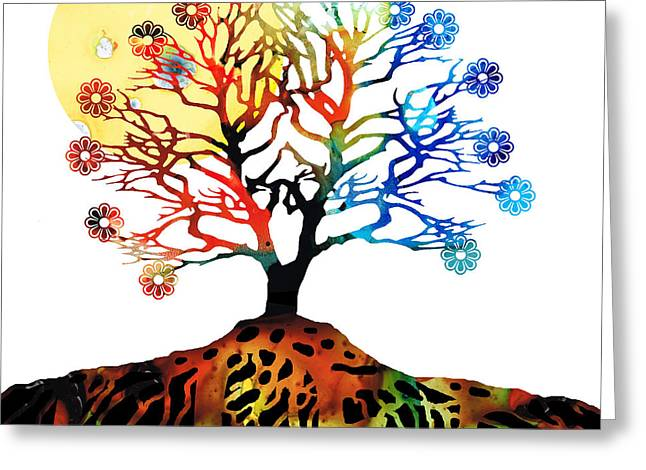 Religious Mixed Media Greeting Cards - Spiritual Art - Tree Of Life Greeting Card by Sharon Cummings