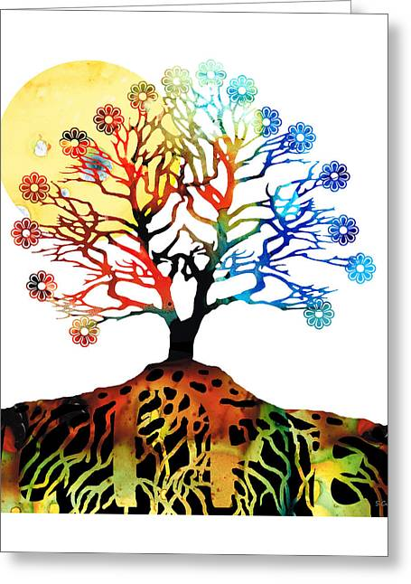 Mystic Art Greeting Cards - Spiritual Art - Tree Of Life Greeting Card by Sharon Cummings