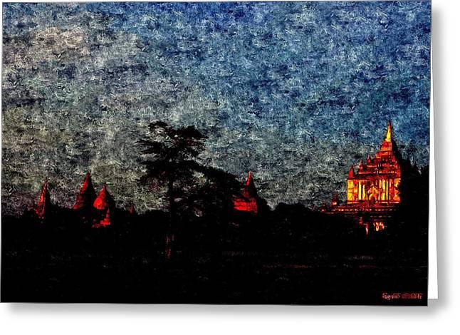 Spiritual Bagan Of Burma Greeting Card by Tilaka-siri Dharmakirti
