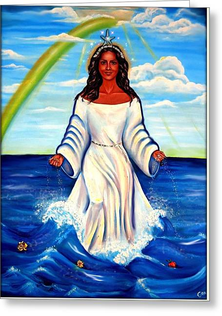 Santeria Greeting Cards - Spiritual Yemaya -Goddess of the Sea Greeting Card by Carmen Cordova