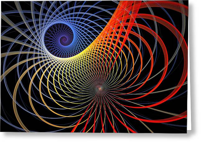 Apophysis Digital Art Greeting Cards - Spirograph Greeting Card by Amanda Moore