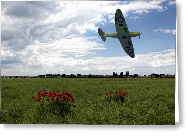 Ww11 Digital Greeting Cards - Spitfire            Greeting Card by Thanet Photos