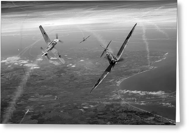 4 Aces Digital Greeting Cards - Spitfire and Bf 109 in Battle of Britain duel BW version Greeting Card by Gary Eason