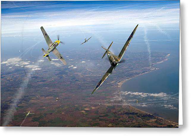 4 Aces Digital Greeting Cards - Spitfire and Bf 109 in Battle of Britain duel  Greeting Card by Gary Eason