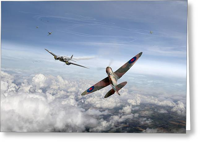 Spitfire Attacking Heinkel Bomber Greeting Card by Gary Eason