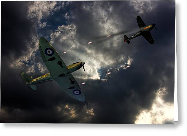 Spitfire Dogfight Greeting Card by Thanet Photos