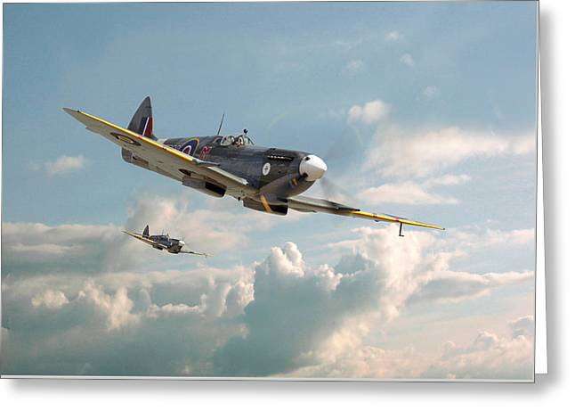 Raf Greeting Cards - Spitfire - High in the Sunlit Silence Greeting Card by Pat Speirs