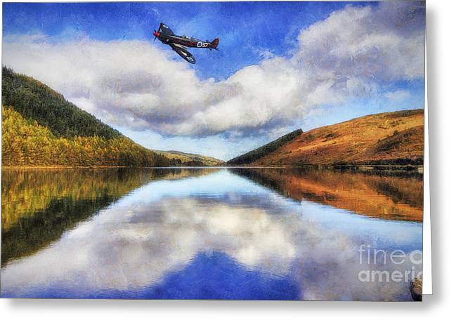 Military Airplanes Greeting Cards - Spitfire Lake Flight Greeting Card by Ian Mitchell