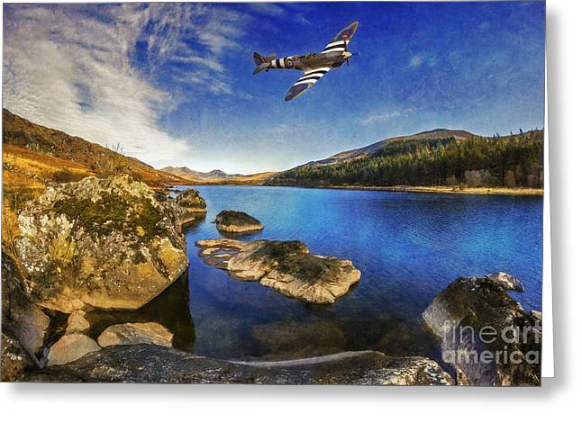 Military Airplanes Greeting Cards - Spitfire Lake Greeting Card by Ian Mitchell