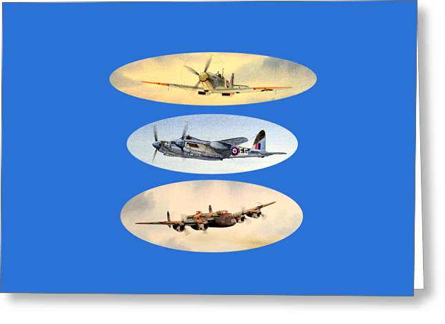 Propeller Paintings Greeting Cards - Spitfire Mosquito Lancaster Collage Greeting Card by Bill Holkham