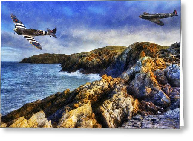 Military Airplanes Greeting Cards - Spitfire On The Coast Greeting Card by Ian Mitchell