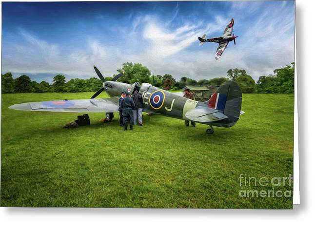 Spitfire Parade Greeting Card by Adrian Evans
