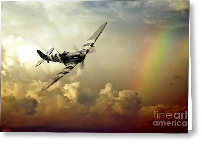Supermarine Greeting Cards - Spitfire Passing Through The Storm  Greeting Card by J Biggadike