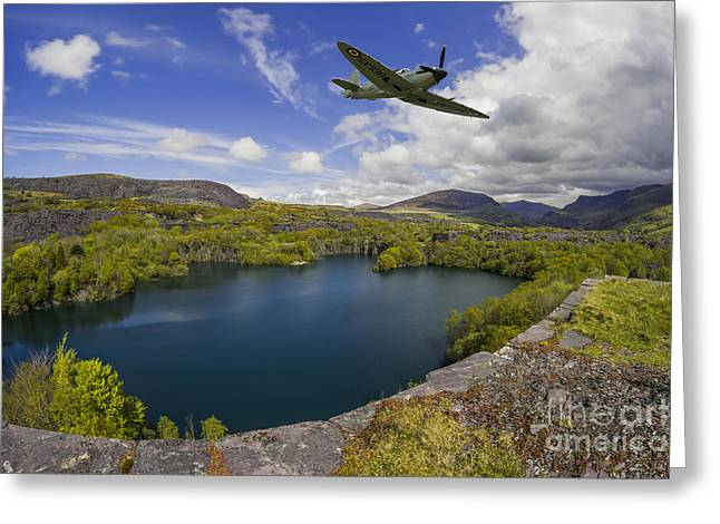 Military Airplanes Greeting Cards - Spitfire Quarry Greeting Card by Ian Mitchell