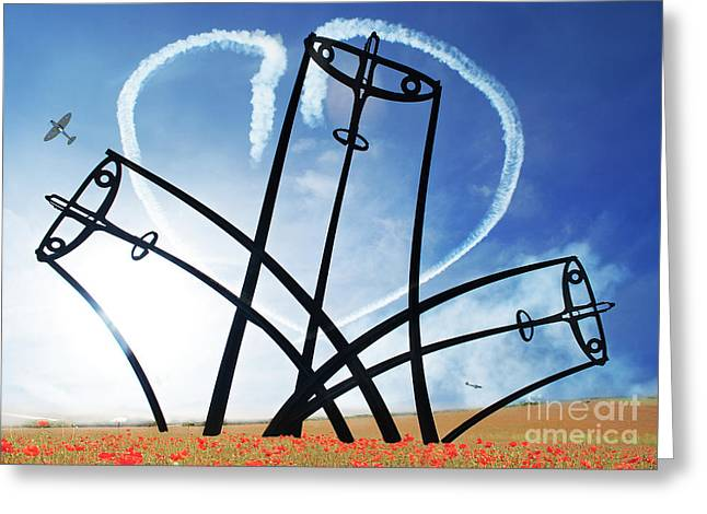 Spitfire Greeting Cards - Spitfire Sentinel in the Field of Poppies  Greeting Card by Eugene James