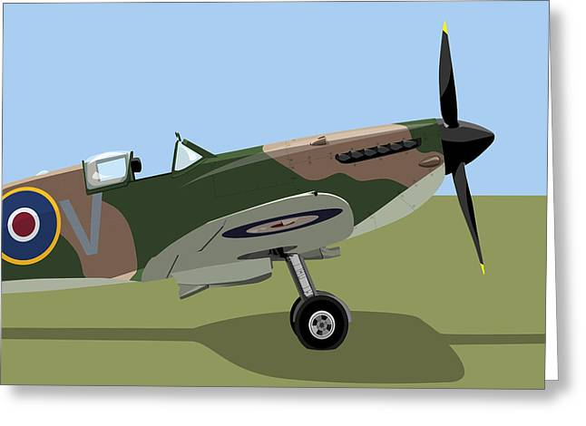 Fighter Aircraft Greeting Cards - Spitfire WW2 Fighter Greeting Card by Michael Tompsett