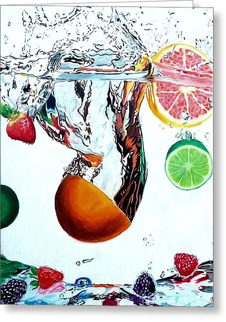 Grapefruit Drawings Greeting Cards - Splash Greeting Card by Ashley Casterline