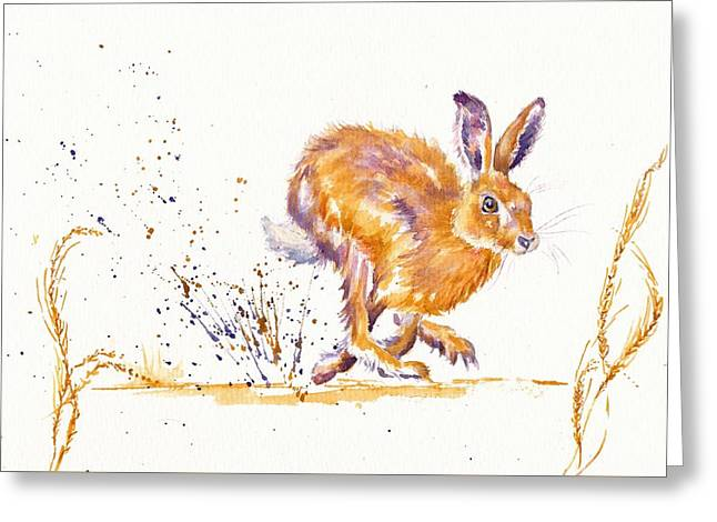 March Hare Greeting Cards - Splash Greeting Card by Debra Hall