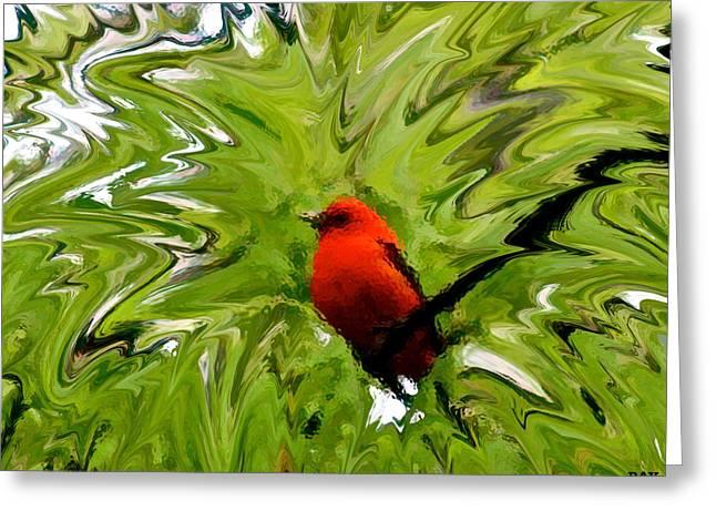 Flocks Of Birds Mixed Media Greeting Cards - Splash Of Red Greeting Card by Debra     Vatalaro