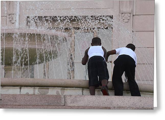 African-americans Greeting Cards - Splashing Around Greeting Card by Kimberly Brandt
